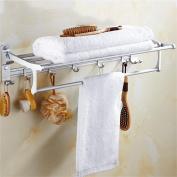 TRRE@ Foldable Space aluminium Bathroom Shelf with Towel Racks,Holder Towel Shelves with Hooks,wall-mounted punching Bathroom Shelf