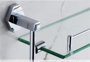 TRRE@ All Copper Glass Double-deck Bathroom Shelves/Bathroom Storage Rack, Chrome Plating, Wall-mounted Punch 43*37.8cm Bathroom Shelf