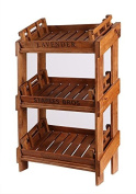 Hollyberry Home Display Rack with 3 Trays-Lavender/Staples Bros/Charles Jo, Wood, Natural, 135 x 67 x 35 cm