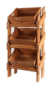 Hollyberry Home Vegetable Display Rack with 3 Trays-Appellation/Chateau Po, Wood, Natural, 115 x 67 x 37 cm