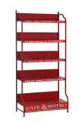 Hollyberry Home Racked Cafe and Bistro Shelves, Metal, Red, 43 x 81.5 x 10.5 cm