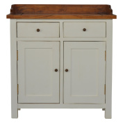 Artisan Furniture 2 Toned Kitchen Unit with Gallery Back, 2 Drawers and 2 Cabinets, Wood, Granary Top and White Painted Base, 85 x 36 x 90 cm