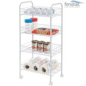 FERIDRAS 997001 Trolley, 4 Shelves, Steel, White, 26 x 38 x 86 cm