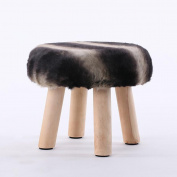 Xuan - worth having Black Grey Stripes Fashion Stool Wood Small Bench Sofa Stool Creative Stool Removable And Washable Stool