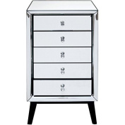 Isla Mirrored 5 Drawer Talboy Luxury Chest of Drawers Mirrored Bedroom Furniture