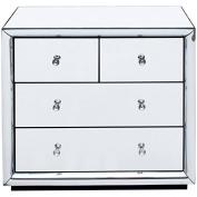 Isla Mirrored 2 + 2 Chest of Drawers 4 Luxury Storage Drawers Mirrored Bedroom Furniture