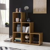 FineBuy LENA wood 6 compartments beech Stand shelf 104,5 x 111 x 29 cm | Design room divider for folders & books Small staircase