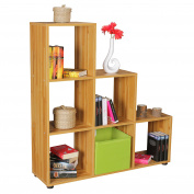 WOHNLING LUNA wood 6 compartments beech Stand shelf 104,5 x 111 x 29 cm | Design room divider for folders & books Small staircase