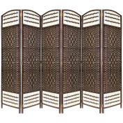BROWN 6 PANEL HAND MADE WICKER ROOM DIVIDER / PARTITION / PRIVACY SCREEN - NEXT WORKING DAY DELIVERY