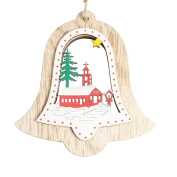Snowman Santa Bells Wooden Tree Decoration (SOMESUN) For Christmas Ornament Holiday Small Gift