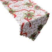 Decorative Flower Santa Claus Tapestry Christmas Poinsettia Table Runner 36cm x 180cm (SOMESUN)