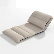 ZEMIN Floor Folding Lazy Sofa Bed Single Backrest Chairs Cloth Art, Beige, 220 x 65 x 12CM