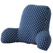 TXXCI 65x40x25CM Office Seat Pillow Reading Pillows Comfortable Waist Protective Cushion - Wave Point + Dark Blue