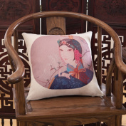 Cotton And Linen Decorative Pillowcase Chinese Opera Character Sofa Cushions Office Car Back Waist Pillow-E 45x45cm(18x18inch)Version B