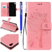 FESELE Sony XA Ultra Case PU Leather Flip Wallet Case [Butterfly Tree Flower Cat Pattern] Embossing PU Leather Bookstyle Wallet Case Magnetic Closure with Stand Function PU Leather Wallet Flip Cover Sleeve Card Slot and Banknotes Pocket with Hand Strap ..