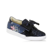 MONNALISA - Blue slip-on made of leather and glitter, made in Italy, romantic and nice, Child, Girl