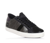 D.A.T.E. - Black and silver lace-up shoe, made of leather and nubuck, with lateral zipper, Child, girl, woman