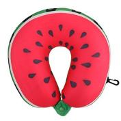 Watermelon U Shaped Pillow Neck Traveller Pillows Creative Cute Cartoon Cushion Nanoparticles Neck Pillow Car Travel Pillow for Kids & Adults