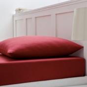 Blanc des Vosges Crimson Plain Cotton Jersey Fitted Sheet 190 x 70 cm