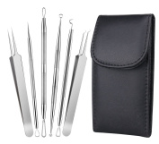 Blackhead Remover Tool Kit, 6Pcs Spot Remover Tool Curved Tweezers Acne Pimple Comedone Extractor Pimple Popper for Facial Care Skin Protect with Leather Case