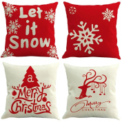 Christmas Pillow Case, KEERADS 4 PCS 2017 Santa Claus Christmas Home Decor Cushion Cover