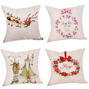 4PC Christmas Pillow Cases Set Mingfa SoSquare ft Throw Cushion Cover Sofa Bed Home Pillow Covers 18x18