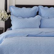 Calla Angel CASPCTKLB_SGDN Sage Garden Luxury Pure Cotton Quilted Pillow Sham,Light Blue,King