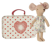 Maileg - Big Sister Mouse - Travelling Mouse in Suitcase With Flowery Playsuit