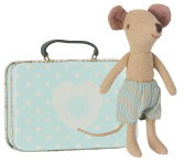 Maileg - Big Brother Mouse - Travelling Mouse In Suitcase With Blue Stripey Shorts