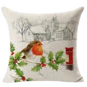 WINOMO Christmas Decorative Throw Pillow Case Cotton Linen Pillow Case Cushion Cover Christmas Gift