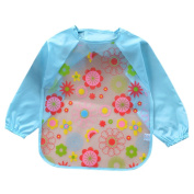 Enerhu Waterproof Kids Bib Smock Long Sleeve Feeding Apron Painting Baking Age 0-4 Years Blue Flower