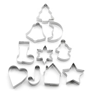 CALISTOUK 10PCS Christmas Tree Biscuit Pastry Cookie Cutter Cake Baking Mould Stainless Steel