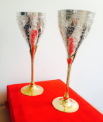 Silver & Gold Plated Engraved Goblet Champagne Flutes Coupes Wine Glass