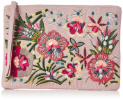 New Look Womens Tropical Embroidory Clutch Off-White
