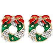 Dosige Stylish Christmas Wreath Santa Style Earrings Crystal Stud Earrings for Women Jewellery Accessories