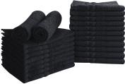 Cotton Bleach Proof Salon Towels (24-Pack, Black,41cm x 70cm ) - Bleach Safe Gym Hand Towel by Utopia Towel
