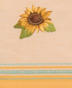Sunny Sunflower Fields Embroidered Gold Tea Kitchen Dish Towel