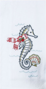 Holiday Seahorse and Shells Embroidered Flour Sack Kitchen Dish Towel