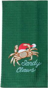 Sandy Claws Crab Embroidered Green Waffle Kitchen Dish Towel