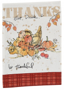 Thanks Eat Drink and Be Thankful Cornucopia Printed Kitchen Dish Towel