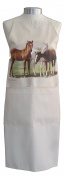 Horses Horse in the Field Pasture Equestrian A Natural Cream Cotton Bib Apron - Baker Cook Gift