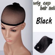6 pcs Adjustable Invisible Nylon Hair Net Wig Cup Unisex Mesh Stretching Breathable Stretchable Hair Accessories Balck Mesh