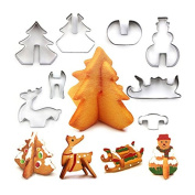 CALISTOUK 8PCS Christmas Cookie Cutter Stainless Steel Christmas Three Elk Snowman Cake Baking Mould