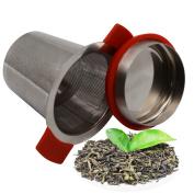 TopEUR Tea Filter Tea Infuser Stainless Steel Tea Strainer Brewing Basket with Anti Slip Handles for Loose Leaf Grain Tea Cups, Mugs, and Pots