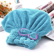 Dry Hair Hat Women Ultra Absortbent Microfiber Quickly Drying Hair Spa Towel Wrapped Bath Shower Cap with Bowknot Blue