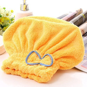 Dry Hair Hat Women Ultra Absortbent Microfiber Quickly Drying Hair Spa Towel Wrapped Bath Shower Cap with Bowknot Yellow