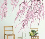 N.SunForest Pink Cherry Blossom Branch Floral Wall Decals Blowing Flowers Vinyl Wall Decor Art Murals for Home Baby Girl Nursery Playroom Bedroom