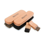 Selvyt Premium Horsehair Buffing Brush and Jar Brush Duo - Black and Neutral