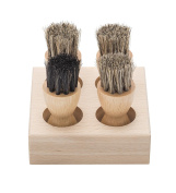 Tadabo Brush Caddy Made From Beechwood with 4 Cream Brush Set