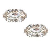 ElegantPark CD Women 2 Pcs Shoe Clips Sparkly Diamante Charm Oval Design Rhinestones Wedding Evening Prom Party Decoration Gift
